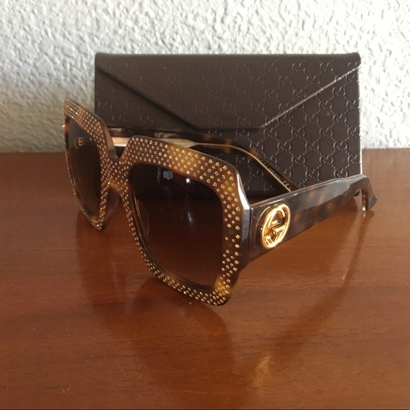 c9f8245c8893f Gucci Accessories - Gucci Gold Crystal Rhinestone Sunglasses.